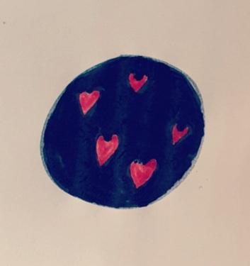 Cerchio blu con cuori rossi